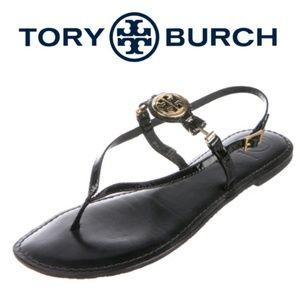 Tory Burch Ali gold logo black patent thong sandal